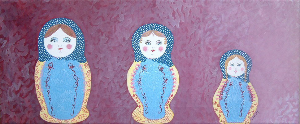 """""""Les poupées russes"""" - acrylique - 20 x 60 cm"""