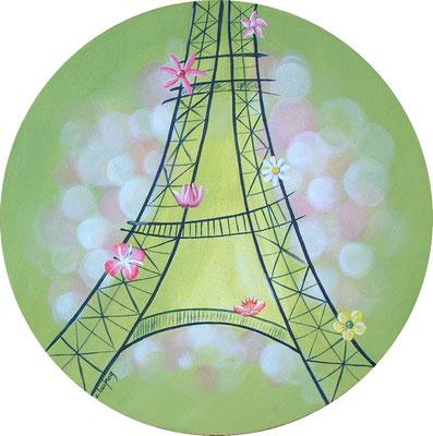 """""""Tour Eiffel"""" - acrylique - Diamètre 30 cm"""