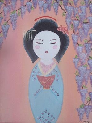 """""""Geisha sous la glycine"""" - acrylique - 30 x 40 cm"""