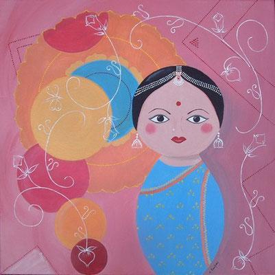 """""""Le yantra et l'Hindoue"""" - acrylique - 50 x 50 cm"""