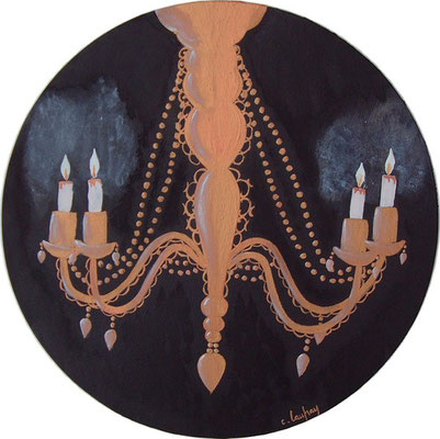 """""""Lustre baroque rococo"""" - acrylique - Diamètre 30 cm"""