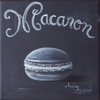 """Macaron noir"" - acrylique - 20 x 20 cm"
