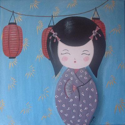 """""""Kokeshi et les lanternes japonaises"""" - acrylique - 30 x 30 cm"""