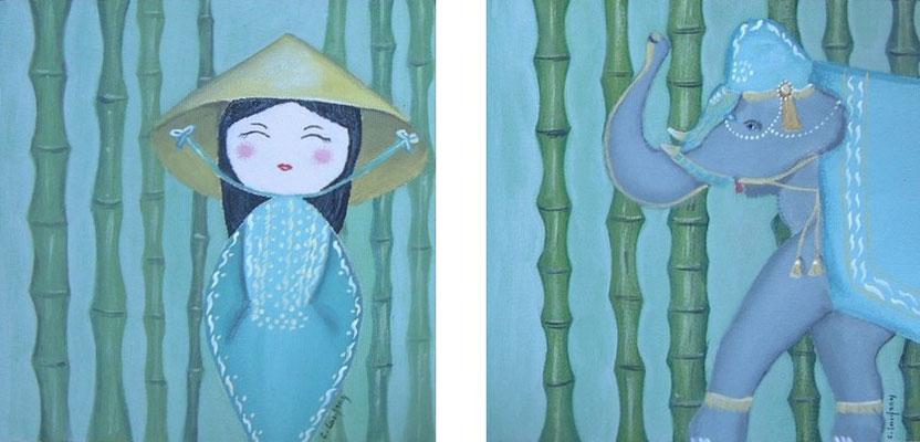"""""""Vietnam"""" (dyptique) - acryllque - 20 x 20 cm x 2"""