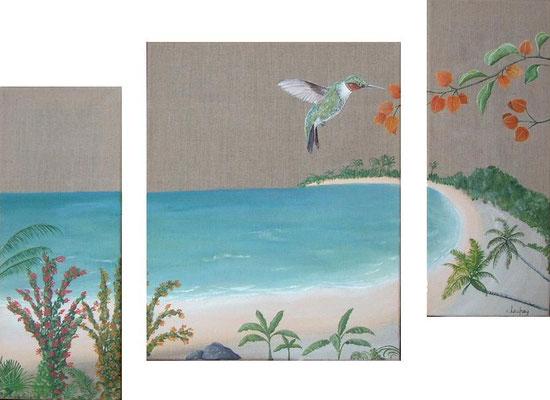 """""""Le colibri"""" - acrylique - (20 x 50 cm) + (40 x 50 cm) + (20 x 50 cm)"""