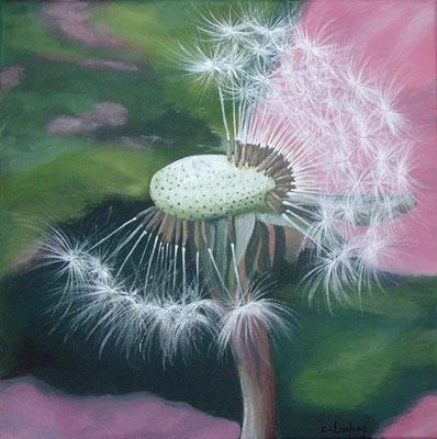 """""""Fleur de pissenlit"""" - acrylique - 30 x 30 cm"""