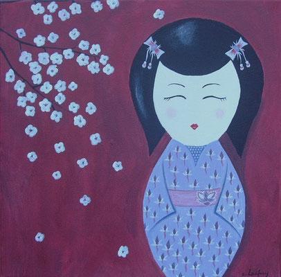 """Kokeshi au cerisier"" - acrylique - 30 x 30 cm"