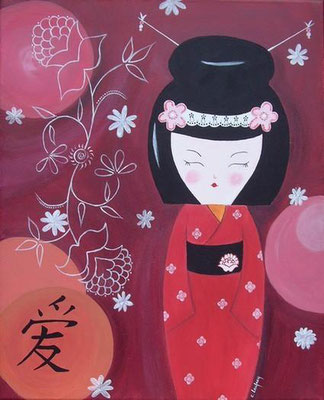 """Gaisha kokeshi"" - acrylique - 40 x 30 cm"