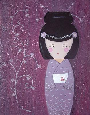 """""""Geisha pourpre"""" - acrylique - 50 x 60 cm"""