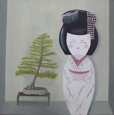 """""""La geisha et le vénérable"""" - acrylique - 40 x 40 cm"""
