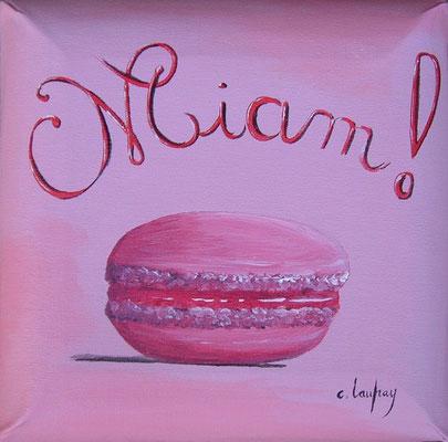 """""""Macaron Miam"""" - acrylique - 20 x 20 cm"""