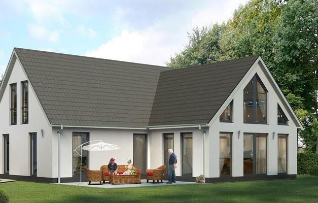 Archiktektur-Visualisierung Neubau Aussenansicht
