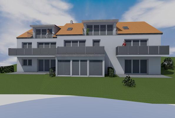 Visualisierung, Farbkonzept, Balkon, Mehrfamilienhaus in Lindenberg