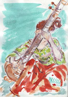Musicienne, sitar indien - (dans carnets) - vente reproduction : réf MU005