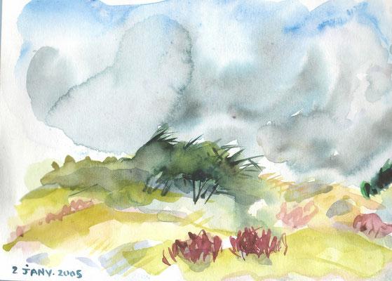 Dunes et ciel de l'ouest - (étude carnets) réf CRT005 - juste repro carte