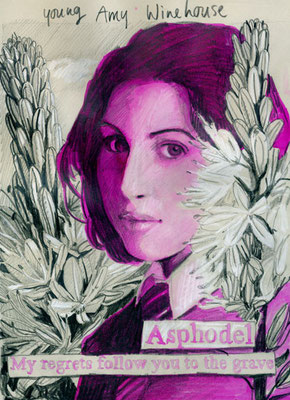 Portret of Amy Winehouse as a young girl, with te Asphodel plant and its meaning.