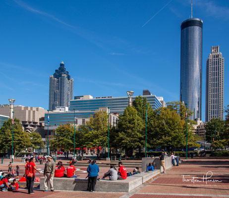 Atlanta ist die Hauptstadt sowie die größte Stadt des US-Bundesstaates Georgia. Wasserspiele im Centennial Park