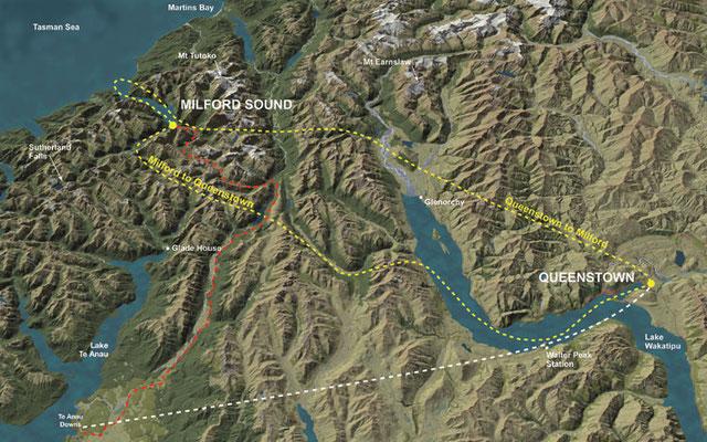 Rundflug über Fiordland und den Milford Sound