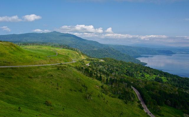 Blick vom Bihoro Pass auf den Kussharo-ko