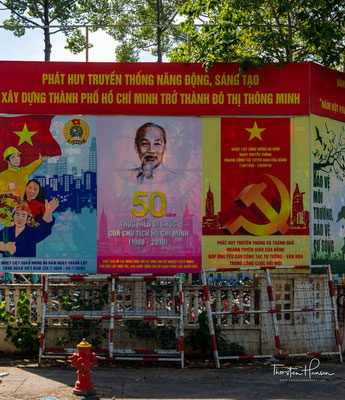 Kommunistische Propaganda in Ho-Chi-Minh-Stadt