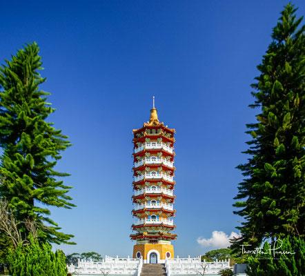 Die Pagode ist 46 Meter hoch und erreicht eine Höhe von sogar 1.000 Metern über dem Meeresspiegel.