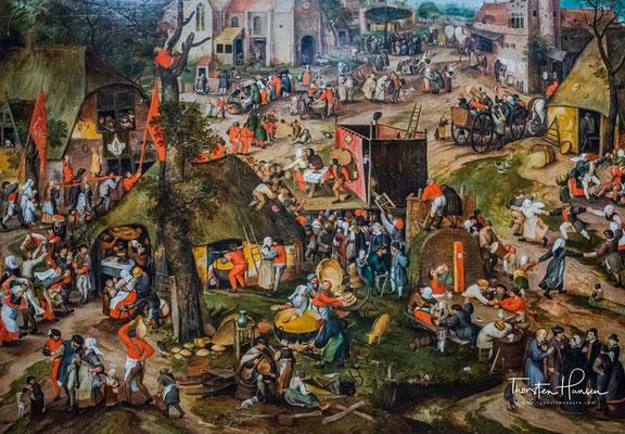 Bauernmarkt mit einer Aufführung der Farce 'Een cluyte van Plaeyerwater', Peeter Baltens,