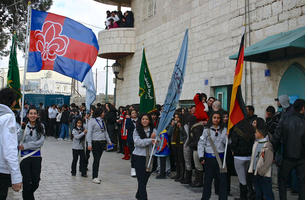 Pfadfindergruppenumzug in Bethlehem