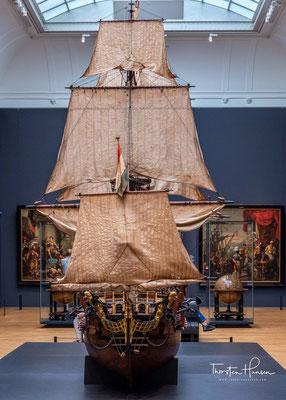 Das Modell des holländischen 74-Kanonenschiffs William Rex von 1698.