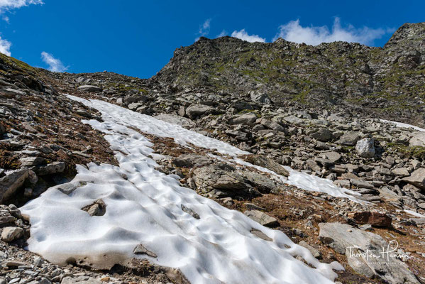 Letzte Eisfelder auf dem Weg zur Gliderbachscharte