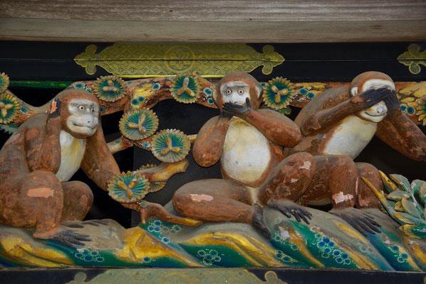 Die berühmten drei Affen am Töshö-gü in Nikko