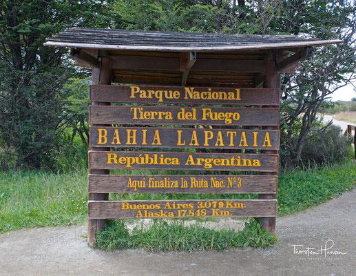 Ende der Nationalstraße 3 im Nationalpark Tierra del Fuego