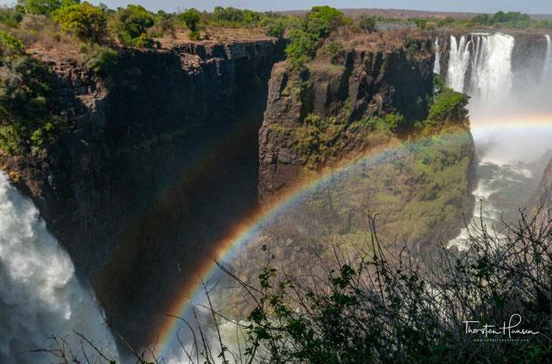 Nachdem er im Jahre 1851 Berichte über diesen Wasserfall gehört hatte, landete er vier Jahre später, am 16.11.1855, auf der kleinen Insel, die direkt an der Kante liegt, über die sich der Sambesi in die Tiefe stürzt und die heute seinen Namen trägt