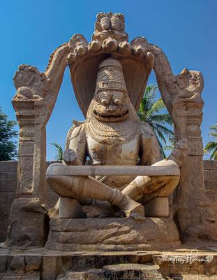 Lakshmi Narasimha ist die größte Skulptur in Hampi und sitzt auf der Spule einer riesigen siebenköpfigen Schlange namens Sesha. Die Köpfe der Schlange fungieren als Kapuze über seinem Kopf. Der Gott sitzt in einer Yoga-Position mit gekreuzten Beinen
