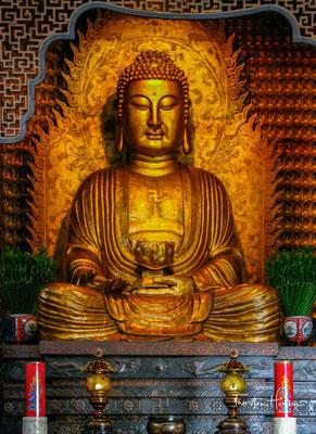 """Die Übersetzung von Buddha Amitabha (tib. Sangye Öpame) als """"Buddha des grenzenlosen Lichtes"""" bedeutet, dass die Ausstrahlung von Buddha Amitabha alle Sphären durchdringt und dass seine Kraft unermesslich stark ist."""
