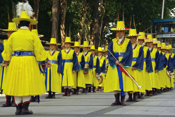Royal Guards Changing Ceremony vorm Decksugung Palast in Seoul
