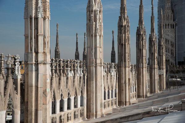 ...wurde die Fassade von Giuseppe Zanola im neogotischen Stil weitergebaut und 1813 von Amati vollendet