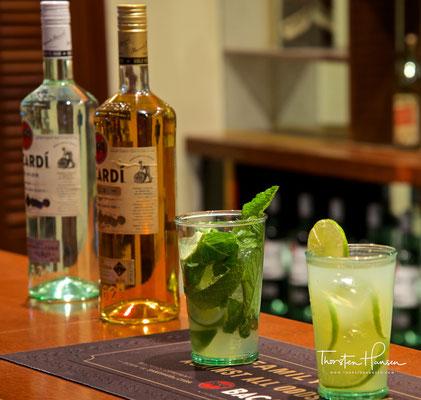 Typische Bacardi Drinks in der Casa Bacardí in Puerto Rico