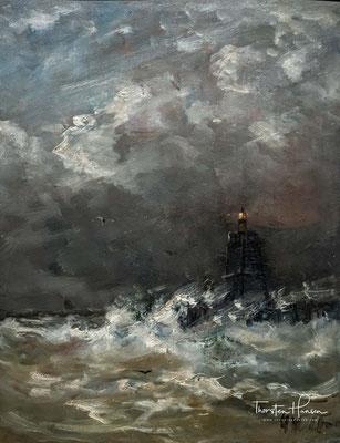 Leuchtturm in brechenden Wellen ca. 1900-07 von Hendrik Willem Mesdag