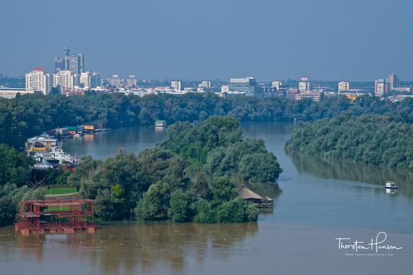 Zusammenfluss Donau und Save
