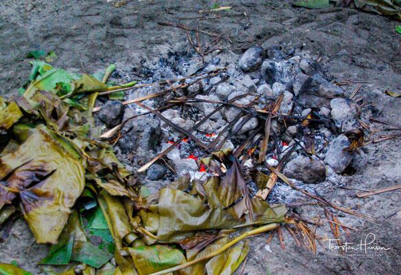 Dieser wird dann mit weiteren Palmenblättern abgedeckt und gart circa eine Stunde lang das Fleisch und die Beilagen für das Festessen.