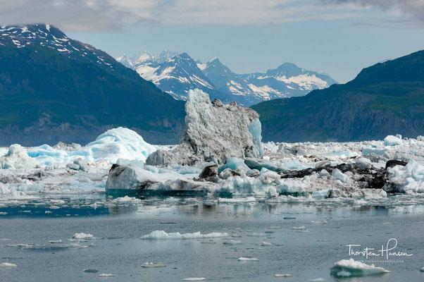 Das 1800 m hoch gelegene Nährgebiet des Meares-Gletschers liegt im Süden der Chugach Mountains zwischen Aspero Peak und Mount Michelson.