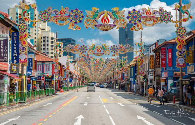 Little India, das sich im Planungsgebiet Rochor, Singapur befindet, ist ein ethnischer Bezirk, in dem vorwiegend die indische Minderheit der Stadt lebt.