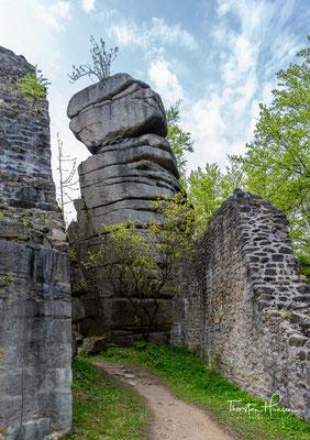 Vom Bergfried der Ruine aus bietet sich ein herrlicher Rundblick über den Oberpfälzer Wald. Bei der Burgruine handelt es sich um eine Höhenburg in Spornlage.