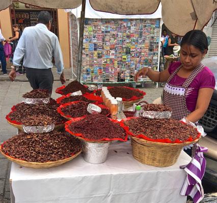 Verkäuferin von Chapulines auf einem Markt in Oaxaca de Juarez