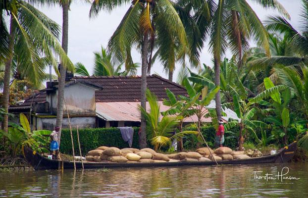 Zur Warenbeförderung nutzen die Einheimischen insbesondere die Kettuvallam genannten traditionellen Lastenkähne.
