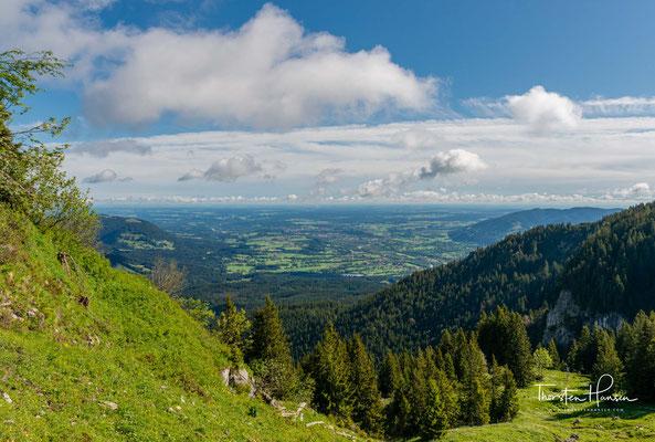 Blick über das Voralpenland bis nach München