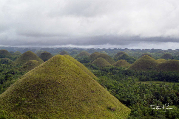"""Die Chocolate Hills (deutsch """"Schokoladenhügel"""") sind eine ungewöhnliche geologische Formation, die zu den bedeutendsten Sehenswürdigkeiten der philippinischen Insel Bohol zählt."""