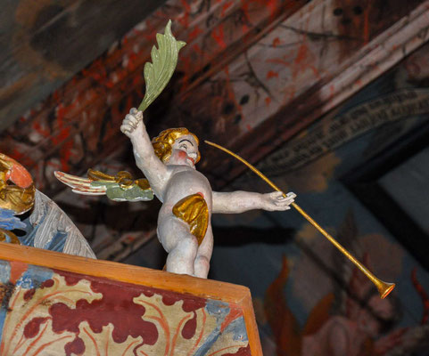 Der Teufel kletterte die Leiter zum Maler hinauf und beschwerte sich, dass er nicht so hässlich sei wie vom Maler dargestellt. Zur Strafe sollte der Maler noch hässlicher werden.