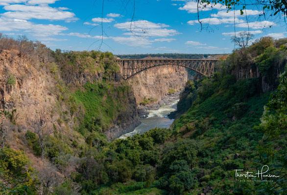 Die Viktoria Fälle gehören zu den Sieben Weltwundern und sind die größten, einheitlich herabstürzenden Wasserfälle der Erde