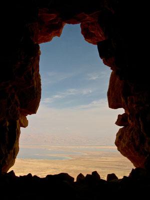 Totes Meer von Masada aus gesehen